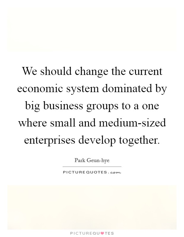 We should change the current economic system dominated by big business groups to a one where small and medium-sized enterprises develop together. Picture Quote #1
