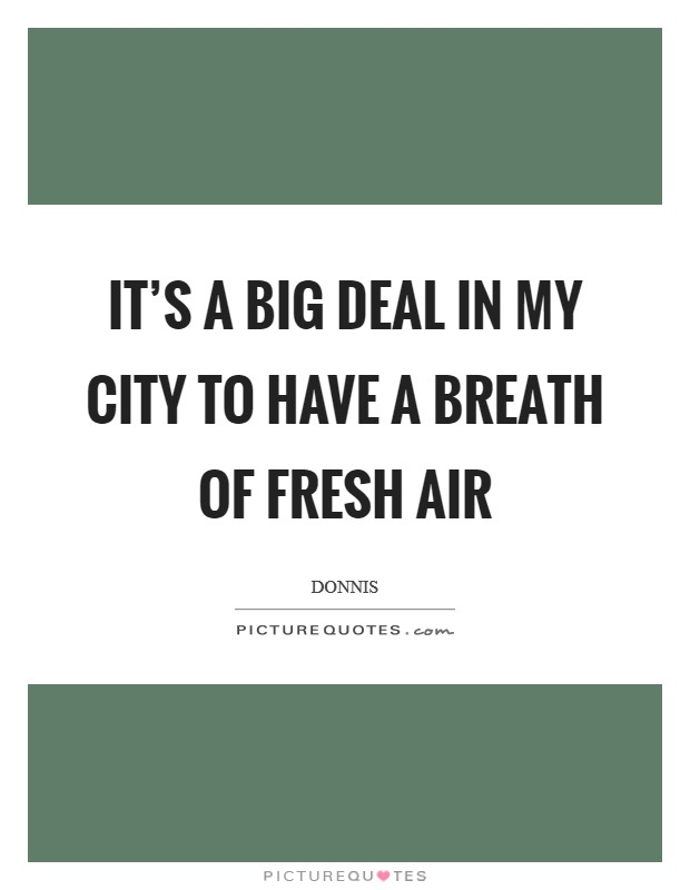 It's a big deal in my city to have a breath of fresh air Picture Quote #1
