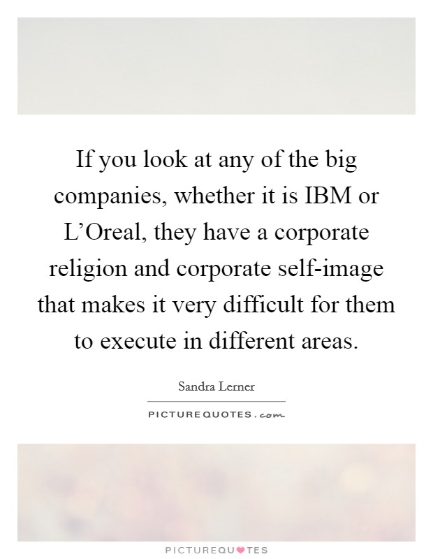 If you look at any of the big companies, whether it is IBM or L'Oreal, they have a corporate religion and corporate self-image that makes it very difficult for them to execute in different areas Picture Quote #1