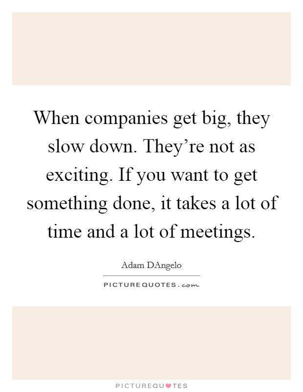 When companies get big, they slow down. They're not as exciting. If you want to get something done, it takes a lot of time and a lot of meetings Picture Quote #1