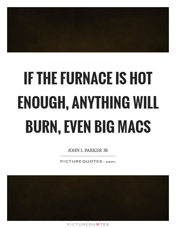 If the furnace is hot enough, anything will burn, even Big Macs Picture Quote #1