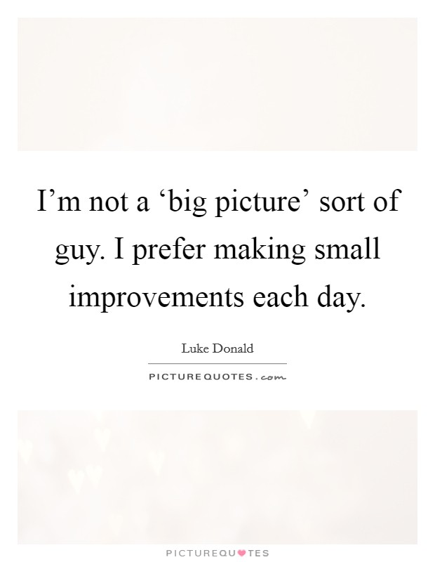 I'm not a 'big picture' sort of guy. I prefer making small improvements each day Picture Quote #1