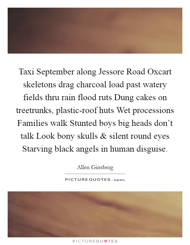 Taxi September along Jessore Road Oxcart skeletons drag charcoal load past watery fields thru rain flood ruts Dung cakes on treetrunks, plastic-roof huts Wet processions Families walk Stunted boys big heads don't talk Look bony skulls and silent round eyes Starving black angels in human disguise Picture Quote #1