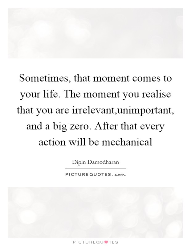 Sometimes, that moment comes to your life. The moment you realise that you are irrelevant,unimportant, and a big zero. After that every action will be mechanical Picture Quote #1