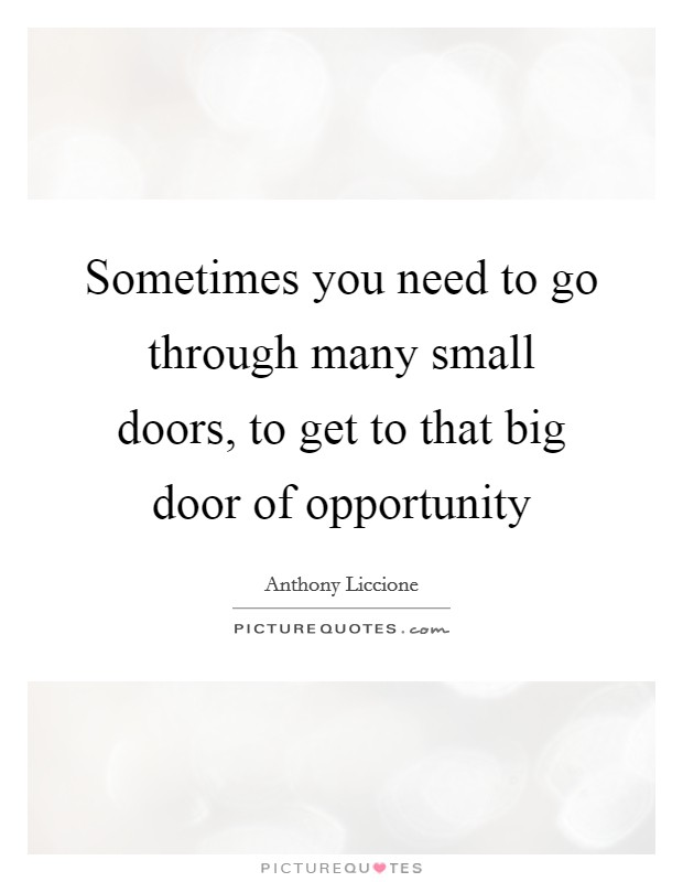 Sometimes you need to go through many small doors, to get to that big door of opportunity Picture Quote #1