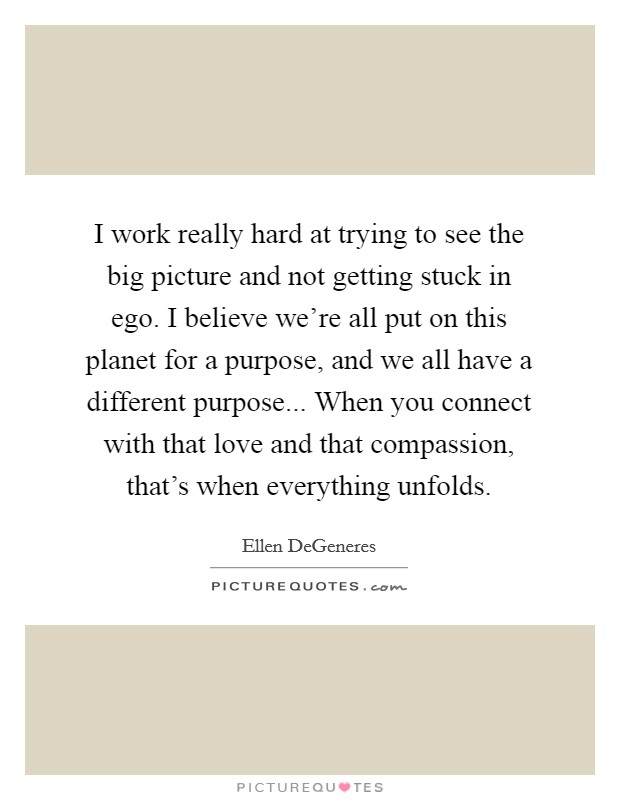 I work really hard at trying to see the big picture and not getting stuck in ego. I believe we're all put on this planet for a purpose, and we all have a different purpose... When you connect with that love and that compassion, that's when everything unfolds Picture Quote #1