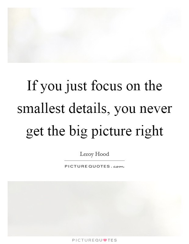 If you just focus on the smallest details, you never get the big picture right Picture Quote #1
