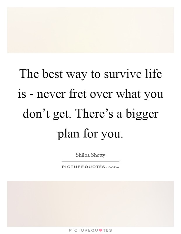 The best way to survive life is - never fret over what you don't get. There's a bigger plan for you Picture Quote #1