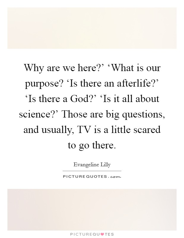 Why are we here?' 'What is our purpose? 'Is there an afterlife?' 'Is there a God?' 'Is it all about science?' Those are big questions, and usually, TV is a little scared to go there Picture Quote #1