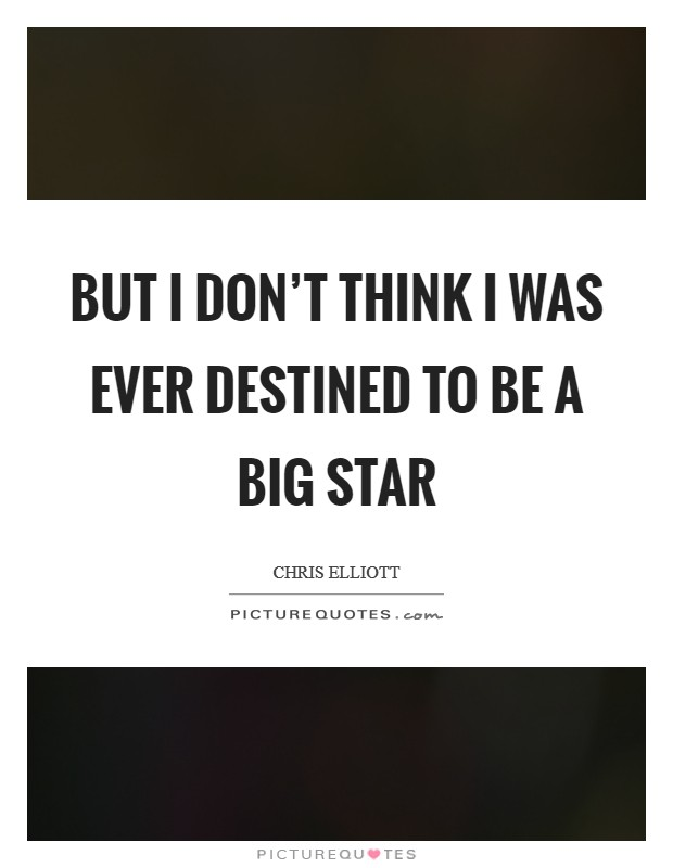 But I don't think I was ever destined to be a big star Picture Quote #1