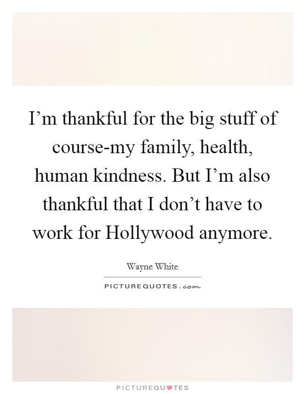 I'm thankful for the big stuff of course-my family, health, human kindness. But I'm also thankful that I don't have to work for Hollywood anymore Picture Quote #1