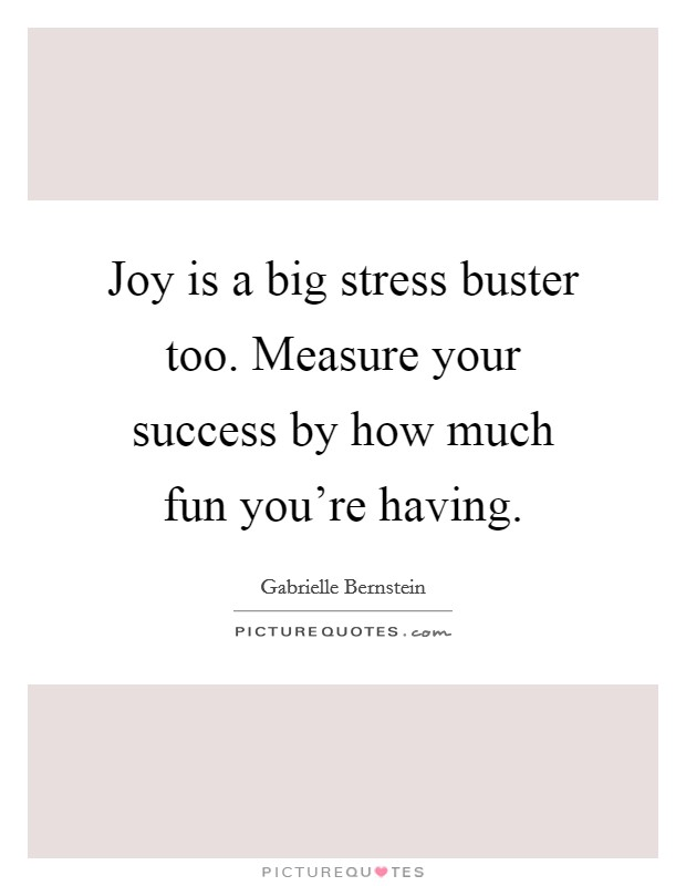 Joy is a big stress buster too. Measure your success by how much fun you're having. Picture Quote #1
