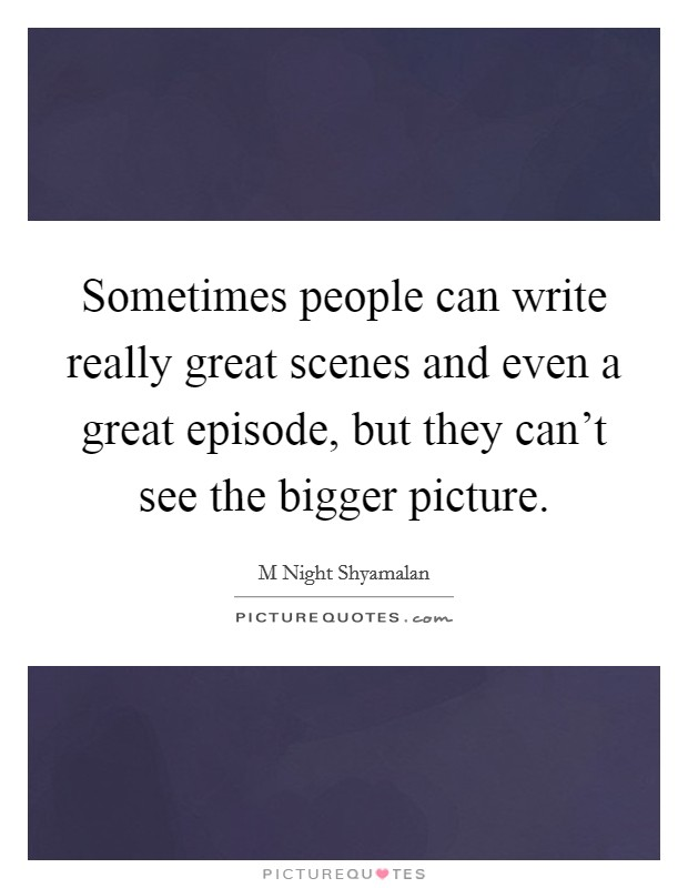 Sometimes people can write really great scenes and even a great episode, but they can't see the bigger picture Picture Quote #1