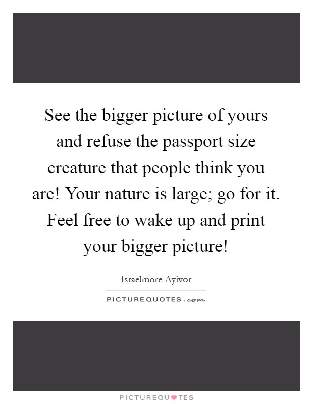 See the bigger picture of yours and refuse the passport size creature that people think you are! Your nature is large; go for it. Feel free to wake up and print your bigger picture! Picture Quote #1