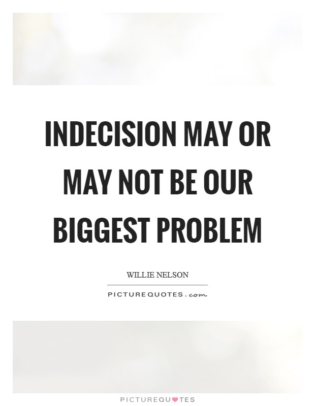 Indecision may or may not be our biggest problem Picture Quote #1