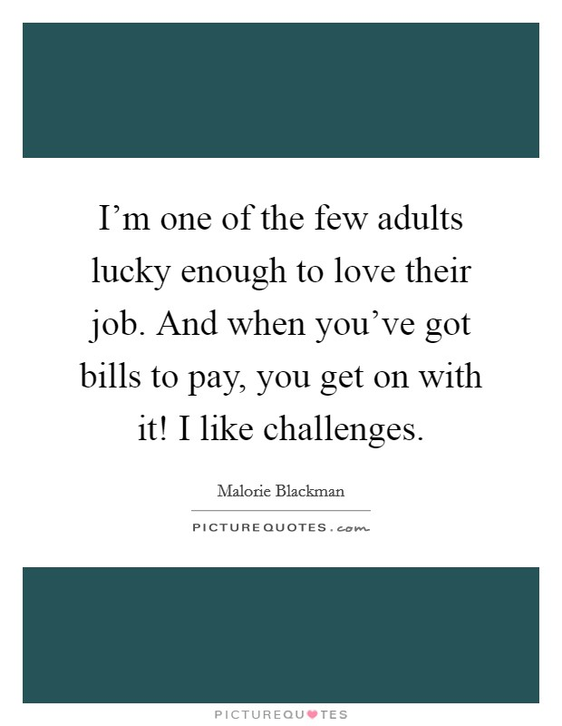 I'm one of the few adults lucky enough to love their job. And when you've got bills to pay, you get on with it! I like challenges Picture Quote #1