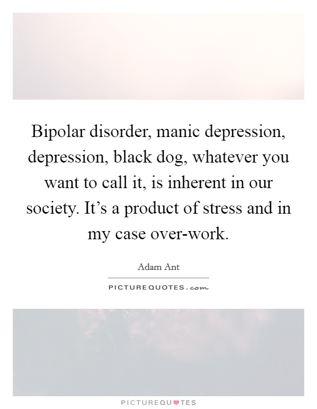 Bipolar disorder, manic depression, depression, black dog, whatever you want to call it, is inherent in our society. It's a product of stress and in my case over-work Picture Quote #1