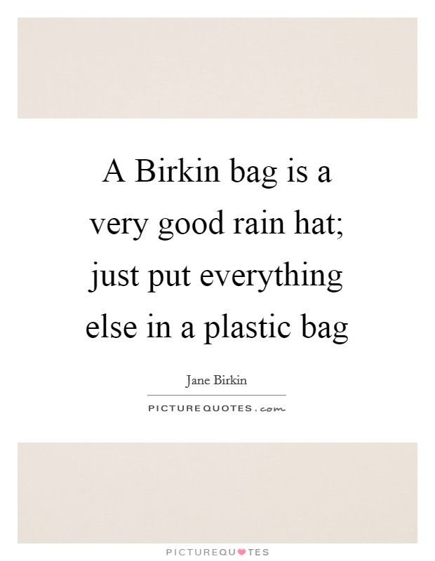 A Birkin bag is a very good rain hat; just put everything else in a plastic bag Picture Quote #1