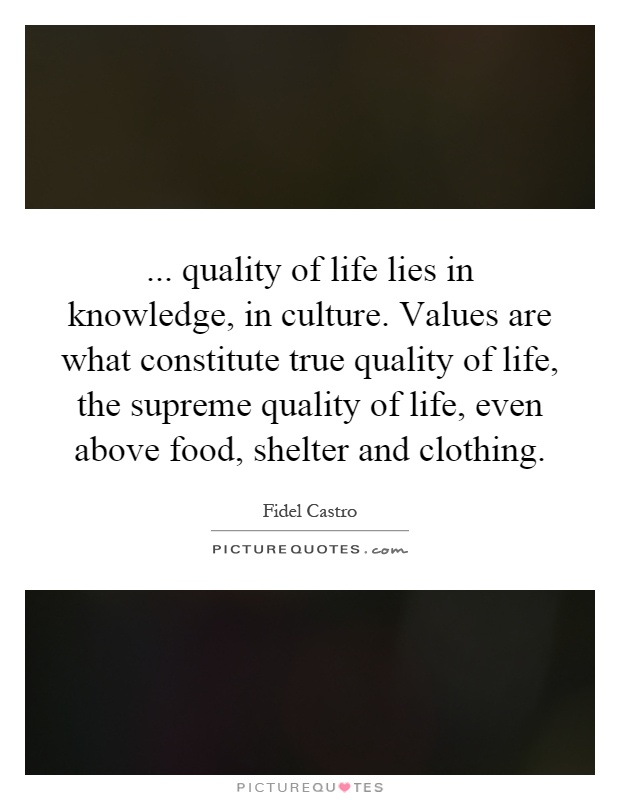 ... quality of life lies in knowledge, in culture. Values are what constitute true quality of life, the supreme quality of life, even above food, shelter and clothing Picture Quote #1