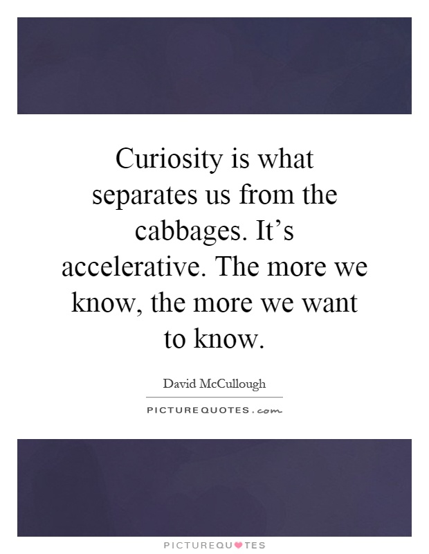 Curiosity is what separates us from the cabbages. It's accelerative. The more we know, the more we want to know Picture Quote #1