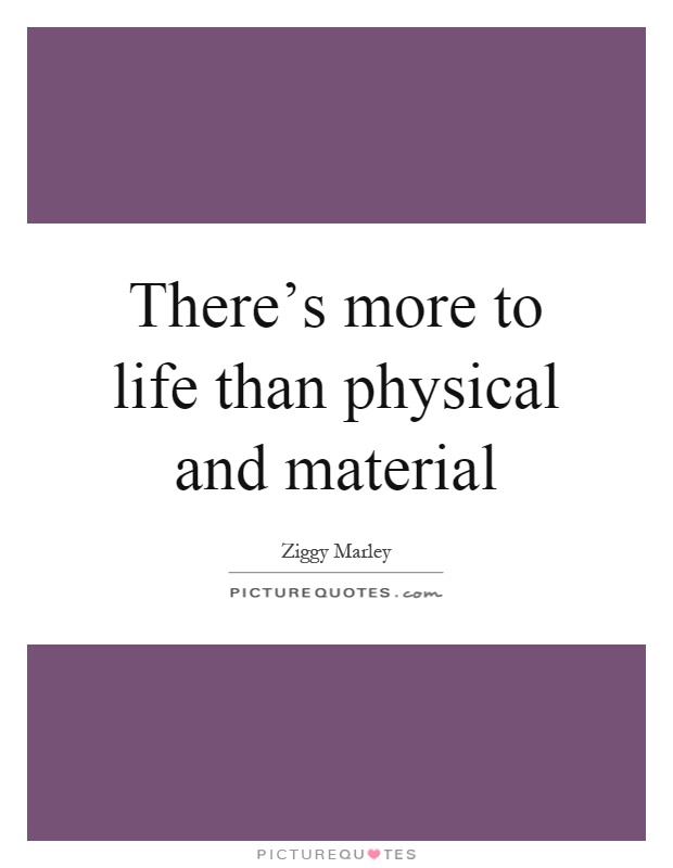 There's more to life than physical and material Picture Quote #1