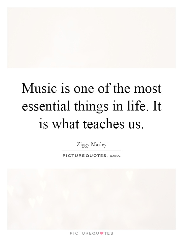Music is one of the most essential things in life. It is what teaches us Picture Quote #1