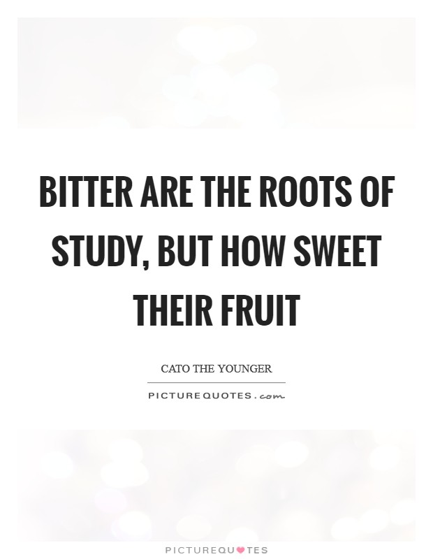 Bitter are the roots of study, but how sweet their fruit Picture Quote #1