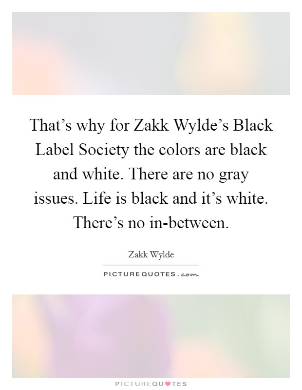 That's why for Zakk Wylde's Black Label Society the colors are black and white. There are no gray issues. Life is black and it's white. There's no in-between. Picture Quote #1