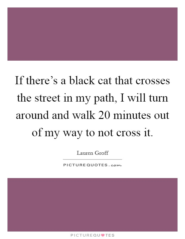 If there's a black cat that crosses the street in my path, I will turn around and walk 20 minutes out of my way to not cross it Picture Quote #1
