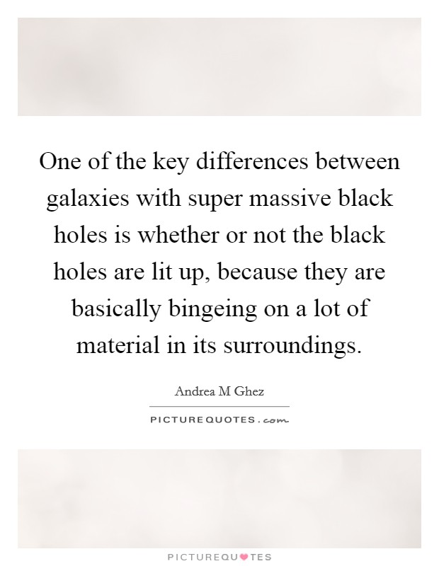 One of the key differences between galaxies with super massive black holes is whether or not the black holes are lit up, because they are basically bingeing on a lot of material in its surroundings Picture Quote #1
