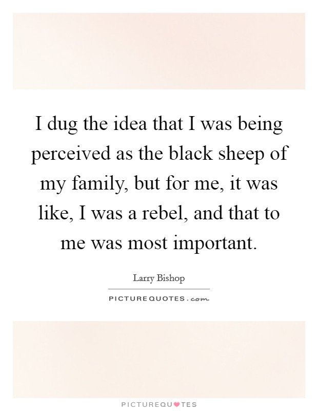 I dug the idea that I was being perceived as the black sheep of my family, but for me, it was like, I was a rebel, and that to me was most important Picture Quote #1