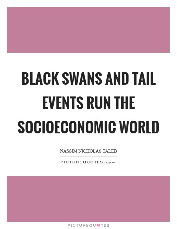 Black Swans and tail events run the socioeconomic world Picture Quote #1