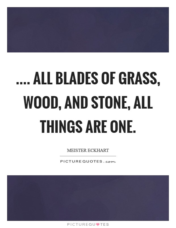 .... all blades of grass, wood, and stone, all things are One. Picture Quote #1