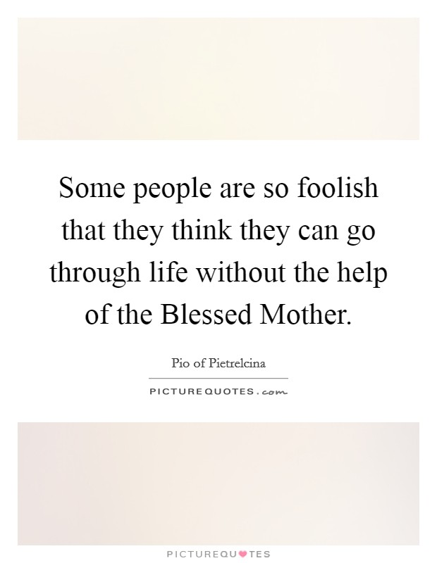 Some people are so foolish that they think they can go through life without the help of the Blessed Mother Picture Quote #1