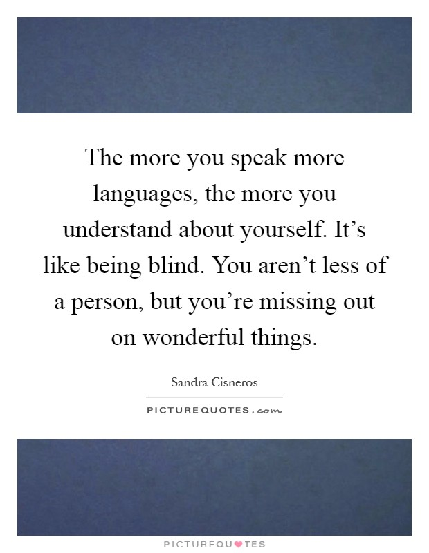 The more you speak more languages, the more you understand about yourself. It's like being blind. You aren't less of a person, but you're missing out on wonderful things Picture Quote #1