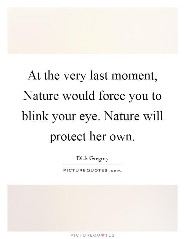At the very last moment, Nature would force you to blink your eye. Nature will protect her own Picture Quote #1