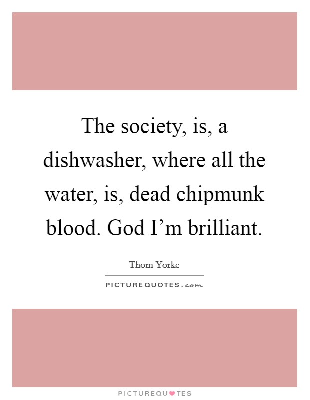 The society, is, a dishwasher, where all the water, is, dead chipmunk blood. God I'm brilliant Picture Quote #1