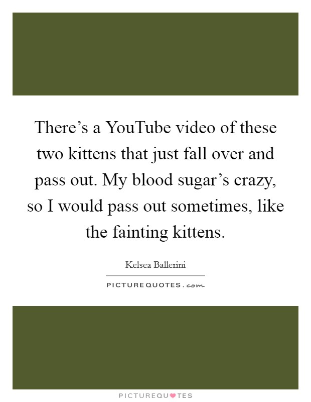 There's a YouTube video of these two kittens that just fall over and pass out. My blood sugar's crazy, so I would pass out sometimes, like the fainting kittens Picture Quote #1