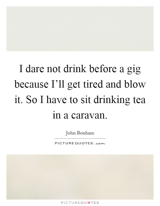 I dare not drink before a gig because I'll get tired and blow it. So I have to sit drinking tea in a caravan Picture Quote #1