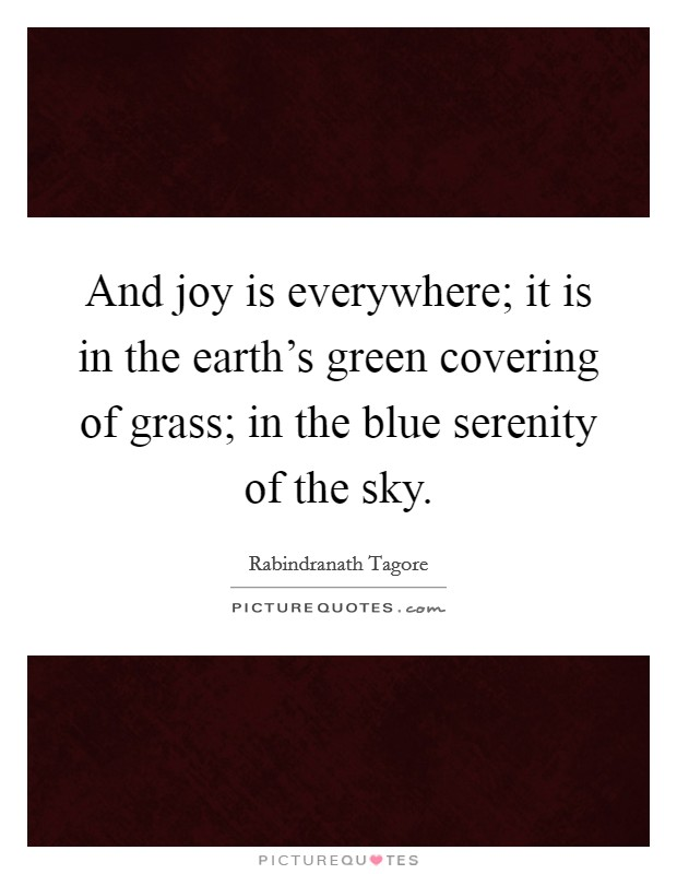 And joy is everywhere; it is in the earth's green covering of grass; in the blue serenity of the sky Picture Quote #1