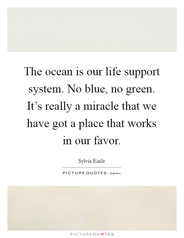 The ocean is our life support system. No blue, no green. It's really a miracle that we have got a place that works in our favor Picture Quote #1