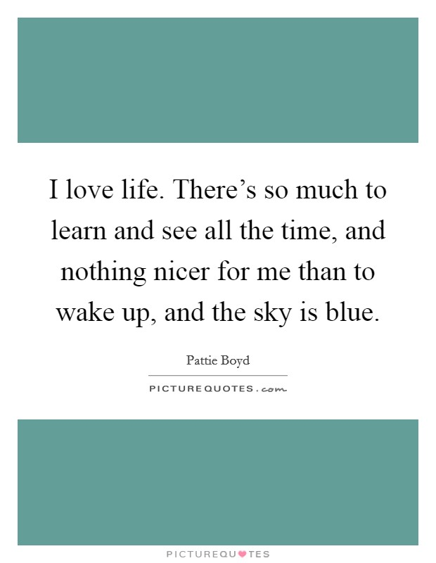 I love life. There's so much to learn and see all the time, and nothing nicer for me than to wake up, and the sky is blue. Picture Quote #1