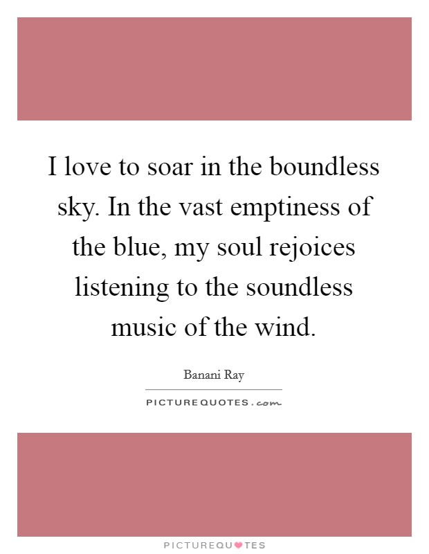 I love to soar in the boundless sky. In the vast emptiness of the blue, my soul rejoices listening to the soundless music of the wind Picture Quote #1