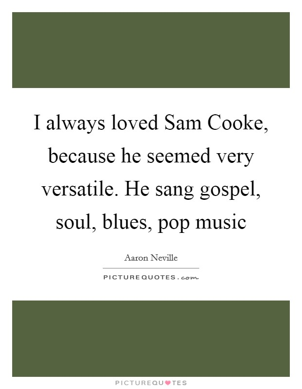 I always loved Sam Cooke, because he seemed very versatile. He sang gospel, soul, blues, pop music Picture Quote #1