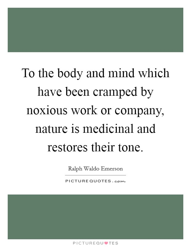 To the body and mind which have been cramped by noxious work or company, nature is medicinal and restores their tone Picture Quote #1
