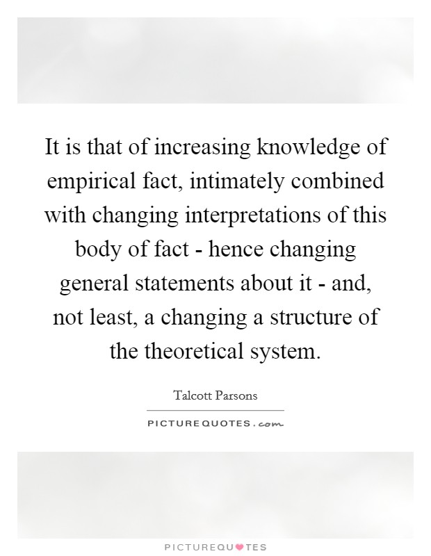 It is that of increasing knowledge of empirical fact, intimately combined with changing interpretations of this body of fact - hence changing general statements about it - and, not least, a changing a structure of the theoretical system Picture Quote #1