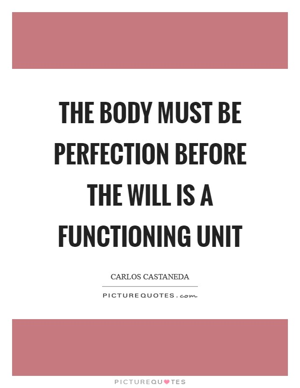 The body must be perfection before the will is a functioning unit Picture Quote #1
