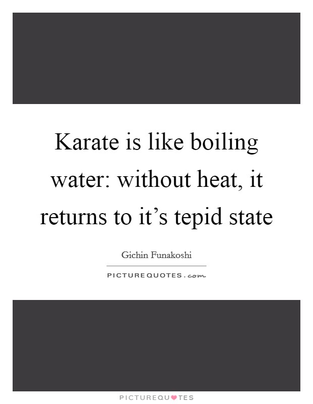Karate is like boiling water: without heat, it returns to it's tepid state Picture Quote #1
