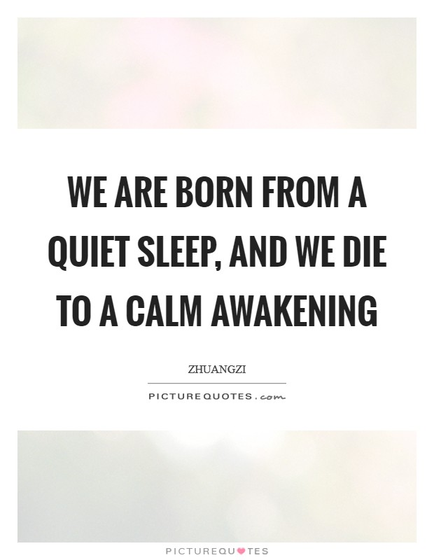We are born from a quiet sleep, and we die to a calm awakening Picture Quote #1