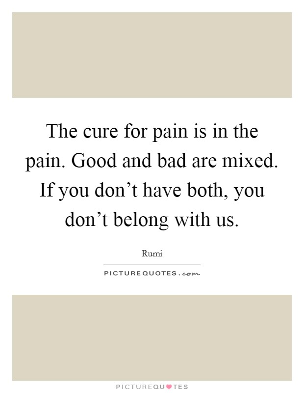 The cure for pain is in the pain. Good and bad are mixed. If you don't have both, you don't belong with us Picture Quote #1